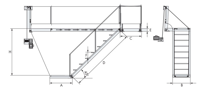 Technical design of king electric boarding ladders