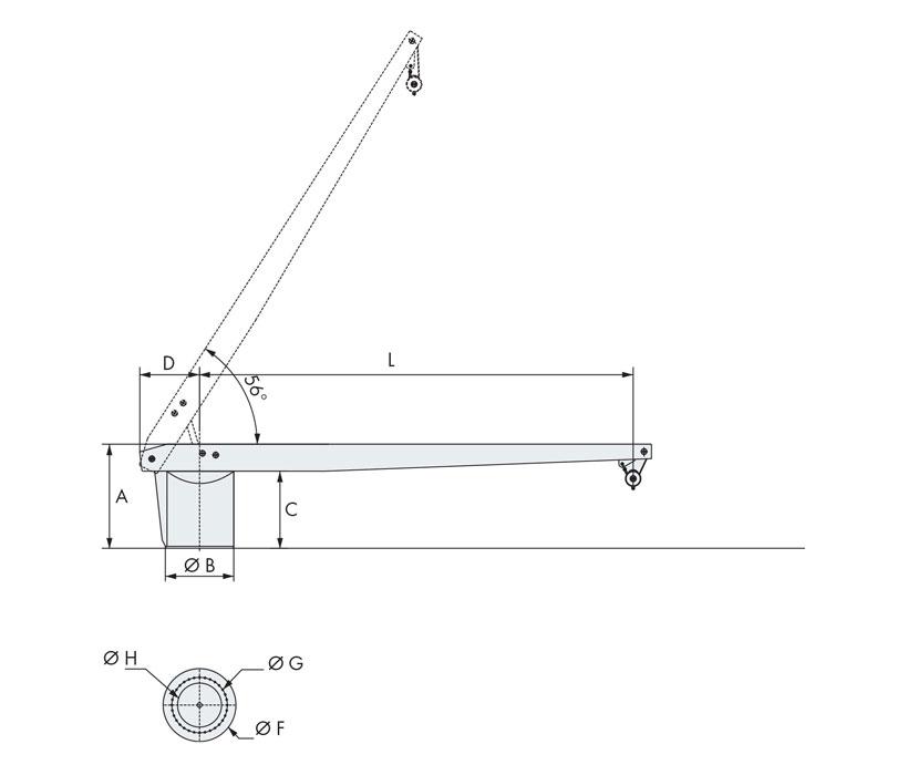 Technical design of rescue boat crane 1000