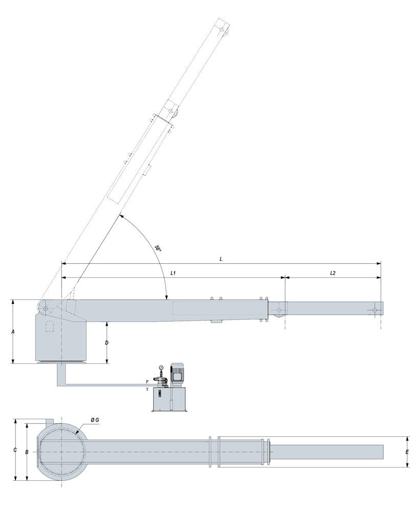 Technical design of rescue boat crane 1500