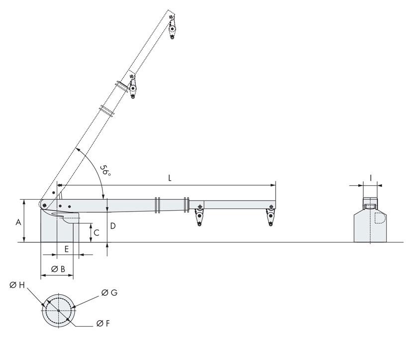 Technical design of rescue boat crane 2000