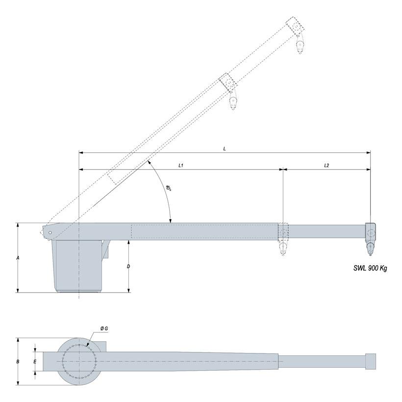 Technical design of rescue boat crane 900