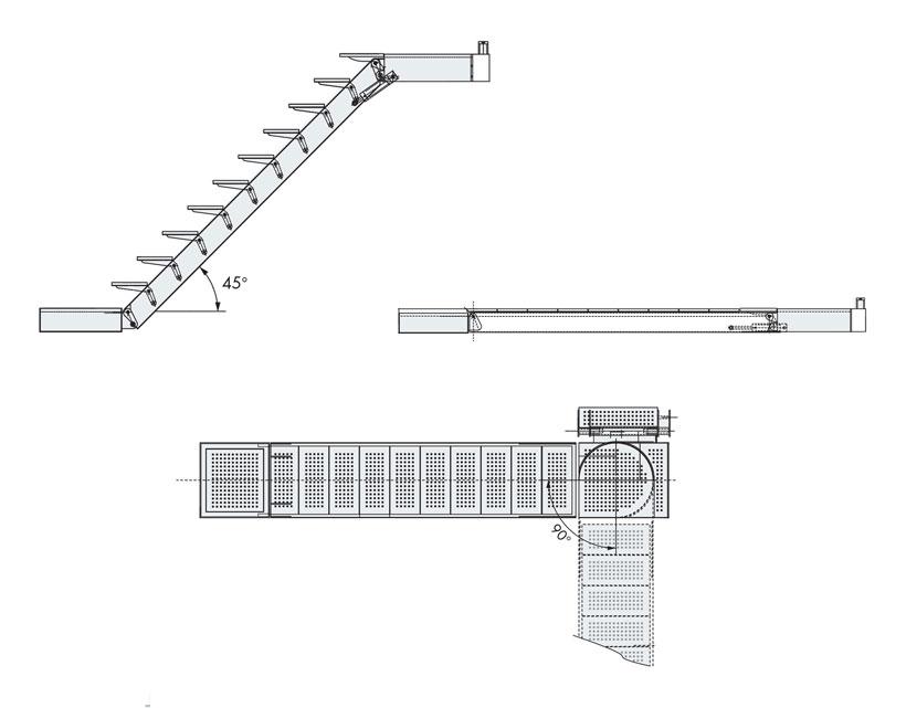Technical design of hydraulic boarding ladders