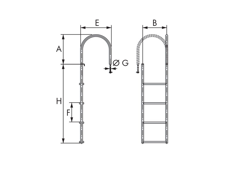 Technical design of swimming ladders for yacht