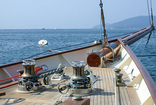 Yacht boarding equipments for vintage boat