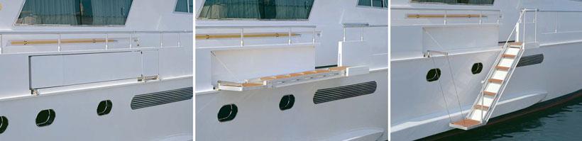Dettaglio scale nautiche elettriche per yacht