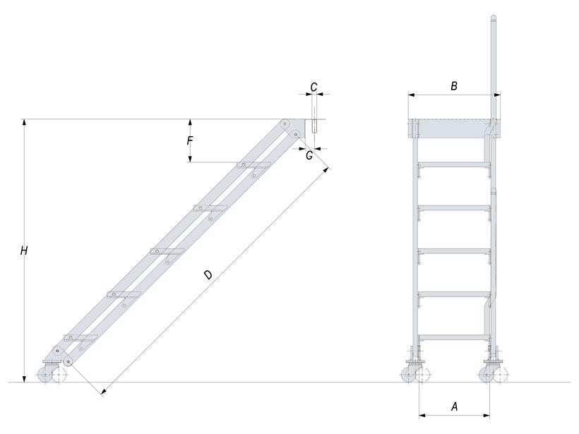 Disegno scalette per barche inox manuali