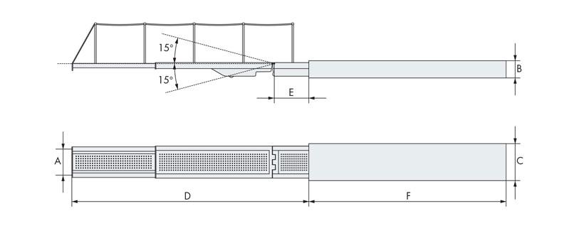 Disegno tecnico passerella barca due elementi