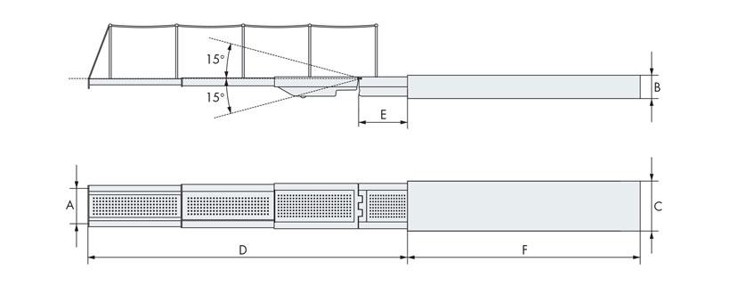 Disegno tecnico passerella barca tre elementi
