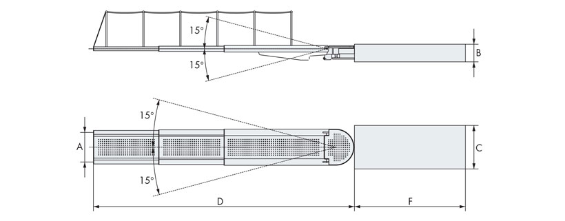 Disegno passerella idraulica tre elementi