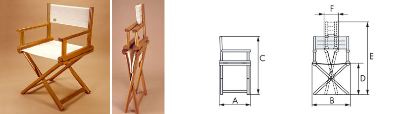 Disegno sedia pieghevole Karin