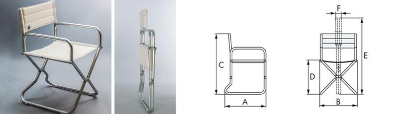 Disegno sedia in alluminio