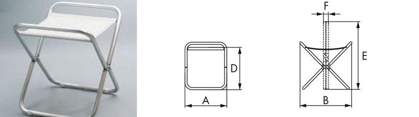 Disegno sgabello in alluminio