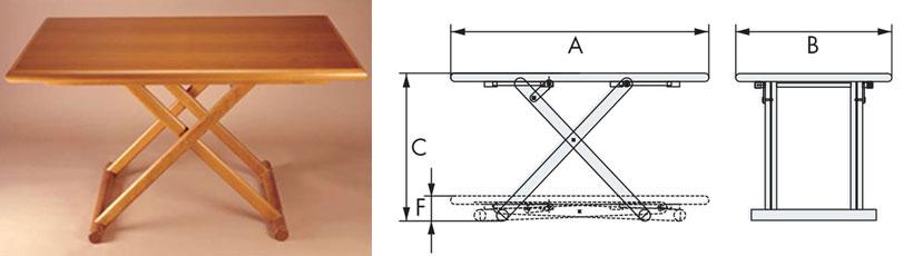 Disegno tavolo in legno Karin