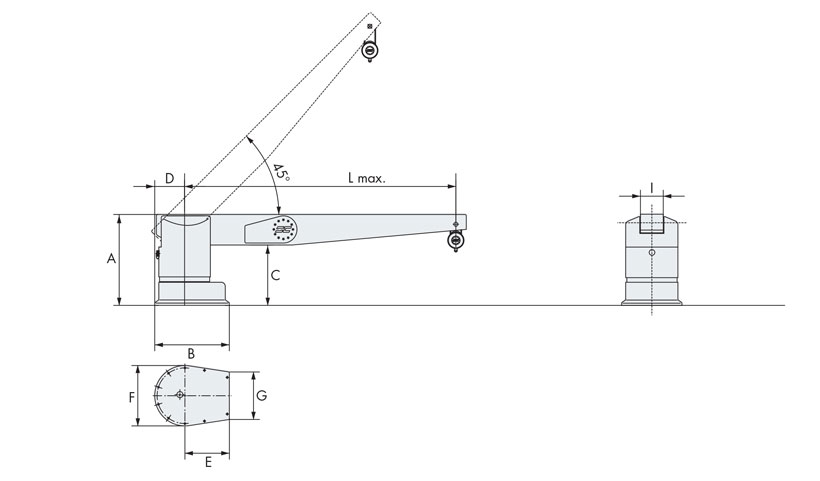 Technical design of boat davit crane 600