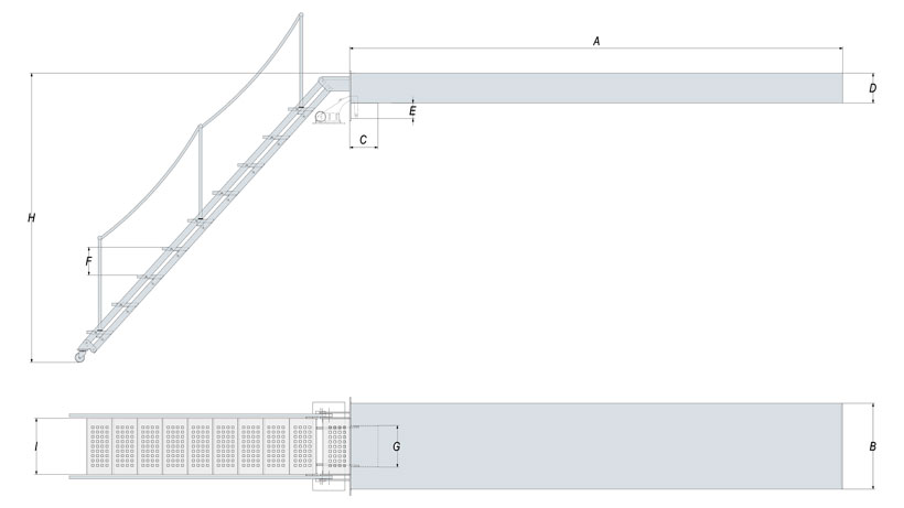Technical design of hydraulic boat dock ladder
