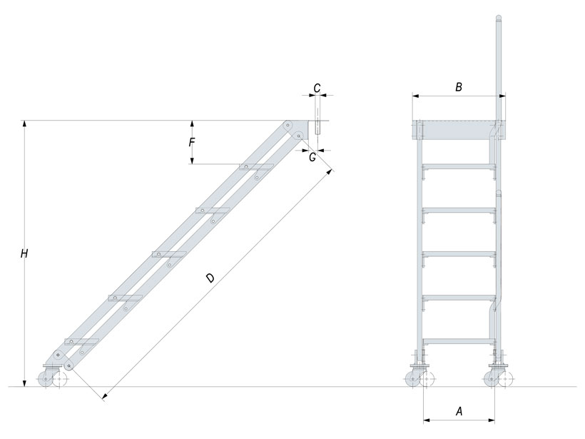 Technical design of manual boat dock ladder