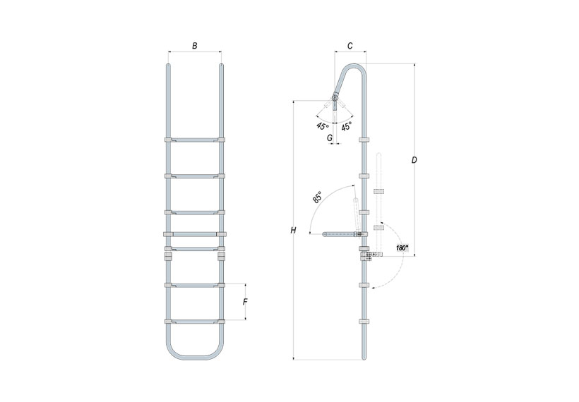 Technical design of Sanguineti's manual boat swim ladder