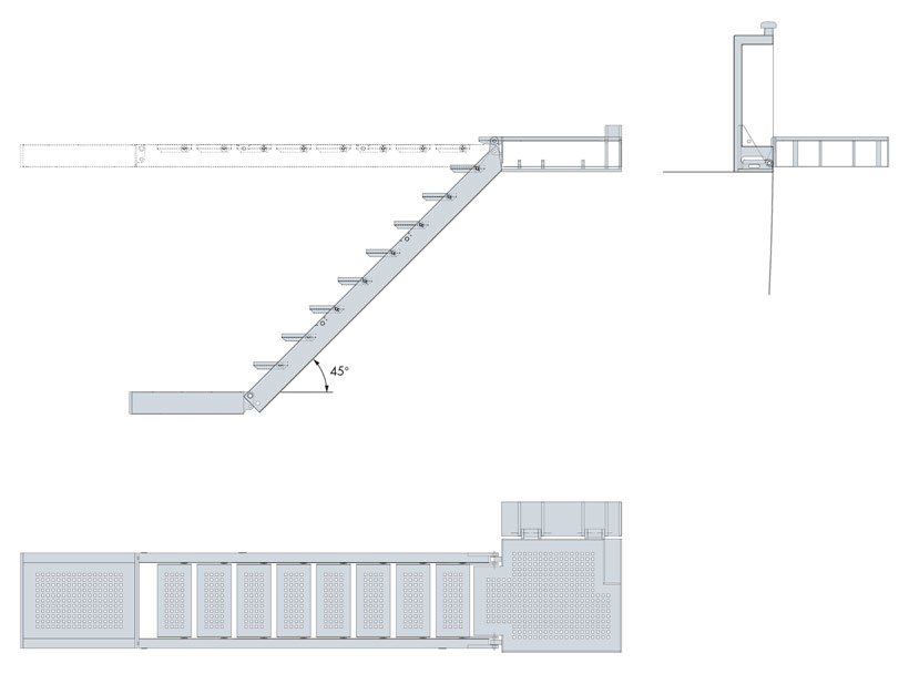 Technical design of non-revolving hydraulic boarding ladders
