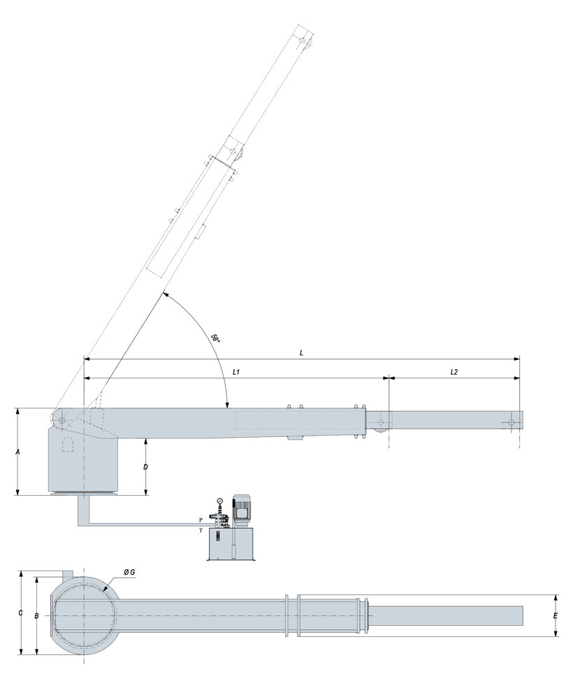 Technical design of rescue boat crane 1500