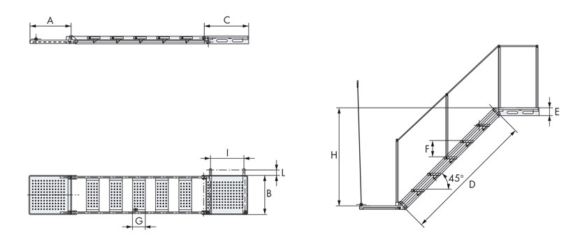 Technical design of articulated manual boarding ladders